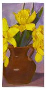 Yellow Daffodils On Purple Bath Towel