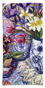 Daffodils Tulips And Iris In A Jacobean Blue And White Jug With Sanderson Fabric And Primroses Hand Towel