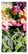 Dahlias And Hydrangeas Bouquet Bath Towel