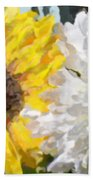 Daisies And Sunflowers - Impressionistic Bath Towel