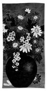 Daisies In Black And White Bath Towel