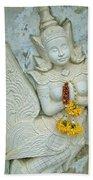 Dancing Aspara At Temple Of The Dawn/wat Arun In Bangkok-thailan Bath Towel