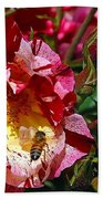 Dancing Bees And Wild Roses Bath Towel