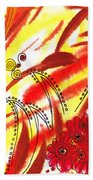 Dancing Lines And Flowers Abstract Bath Towel