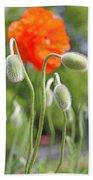 Dancing Orange Poppy Flower Pods Bath Towel