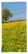 Dandelion Meadow And Alone Tree  Bath Towel