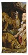 Daniel And The Lions Den Bath Towel