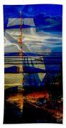 Dark Moonlight With Sails And Seagull Bath Towel