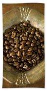 Dark Roast Coffee Beans And Antique Silver Bath Towel