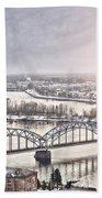 Daugava Railway Bridge Bath Towel
