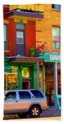 Davids Tea Room Rue St Viateur Next To The Bagel Shop Montreal Street Scene Art Carole Spandau   Bath Towel
