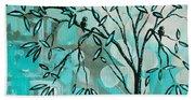Decorative Abstract Floral Birds Landscape Painting Bird Haven I By Megan Duncanson Bath Towel