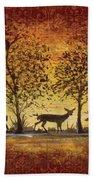 Deer At Sunset On Damask Bath Towel