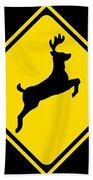 Deer Crossing Sign Bath Towel