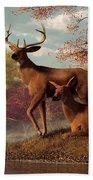 Deer On An Autumn Lakeshore  Bath Towel