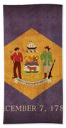 Delaware State Flag Art On Worn Canvas Hand Towel by Design Turnpike