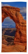 Delicate Arch View Bath Towel by Greg Norrell