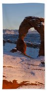 Delicate Arch With Snow At Sunset Arches National Park Utah Bath Towel