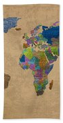 Denim Map Of The World Jeans Texture On Worn Canvas Paper Bath Towel