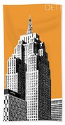 Detroit Skyline 2 - Orange Bath Towel