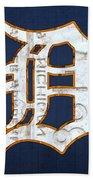 Detroit Tigers Baseball Old English D Logo License Plate Art Hand Towel