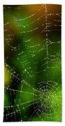 Dew Drops On Spider Web  Bath Towel