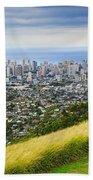 Diamond Head And The City Of Honolulu Bath Towel
