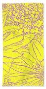 Digital Cone Flowers Drawing Bath Towel