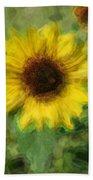 Digital Painting Series Sunflower Bath Towel
