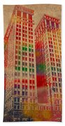 Dime Building Iconic Buildings Of Detroit Watercolor On Worn Canvas Series Number 1 Bath Towel