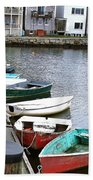 Dinghies Wait At The Pier Bath Towel