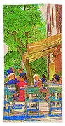 Dinner On The Terrace Le Murphy Boire Et Manger French Bistro Montreal Cafe Street Scene Bath Towel