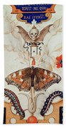 Diptych With Flowers And Insects Bath Towel