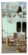 Directors Chairs In Front Of The Ship The Queen Bath Towel