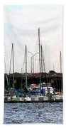Docked Boats Norfolk Va Bath Towel