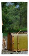 Dog And Suitcase Bath Towel