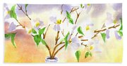 Dogwood In Watercolor Bath Towel