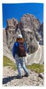Dolomiti - Hiker In Sella Mount Bath Towel