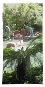 Dolphin Pond And Garden Green Bath Towel