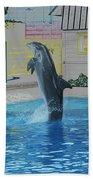 Dolphin Walking On Water Digital Art Bath Towel