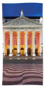 Dona Maria II National Theater At Night In Lisbon Hand Towel