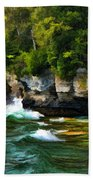Door County Cave Point Cliffs Bath Towel