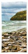 Door County Porcupine Bay Waves Bath Towel