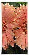 Double Delight - Coral Gerbera Daisies Bath Towel