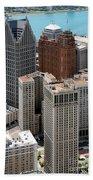 Downtown Aerial Of Detroit Michigan Bath Towel