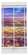 Downtown Boulder Colorado City Lights Sunrise  Window View 8lg Bath Towel
