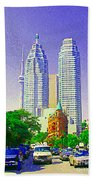 Downtown Core Flatiron Building And Cn Tower Toronto City Scenes Paintings Canadian Art Cspandau Bath Towel