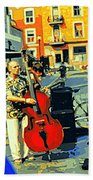 Downtown Street Musicians Perform At The Coffee Shop With Cool Tones On A Hot Summer Day Bath Towel