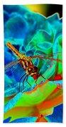 Dragonfly On A Cosmic Rose Bath Towel