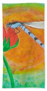 Dragonfly On Red Flower Bath Towel